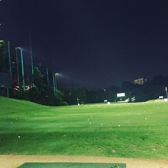 Grass Green Color Sport Night Playing Field Field Tree Soccer Field Outdoors No People Nature Beauty In Nature Competitive Sport Golf Course Green - Golf Course Sky Goal Post