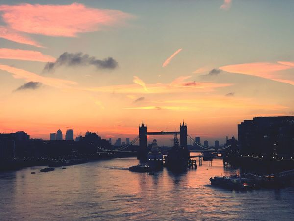 Tower Bridge dawn Sky Building Exterior Sunset City Built Structure Architecture Water Orange Color Nature Cloud - Sky Cityscape Waterfront No People Silhouette Transportation Urban Skyline