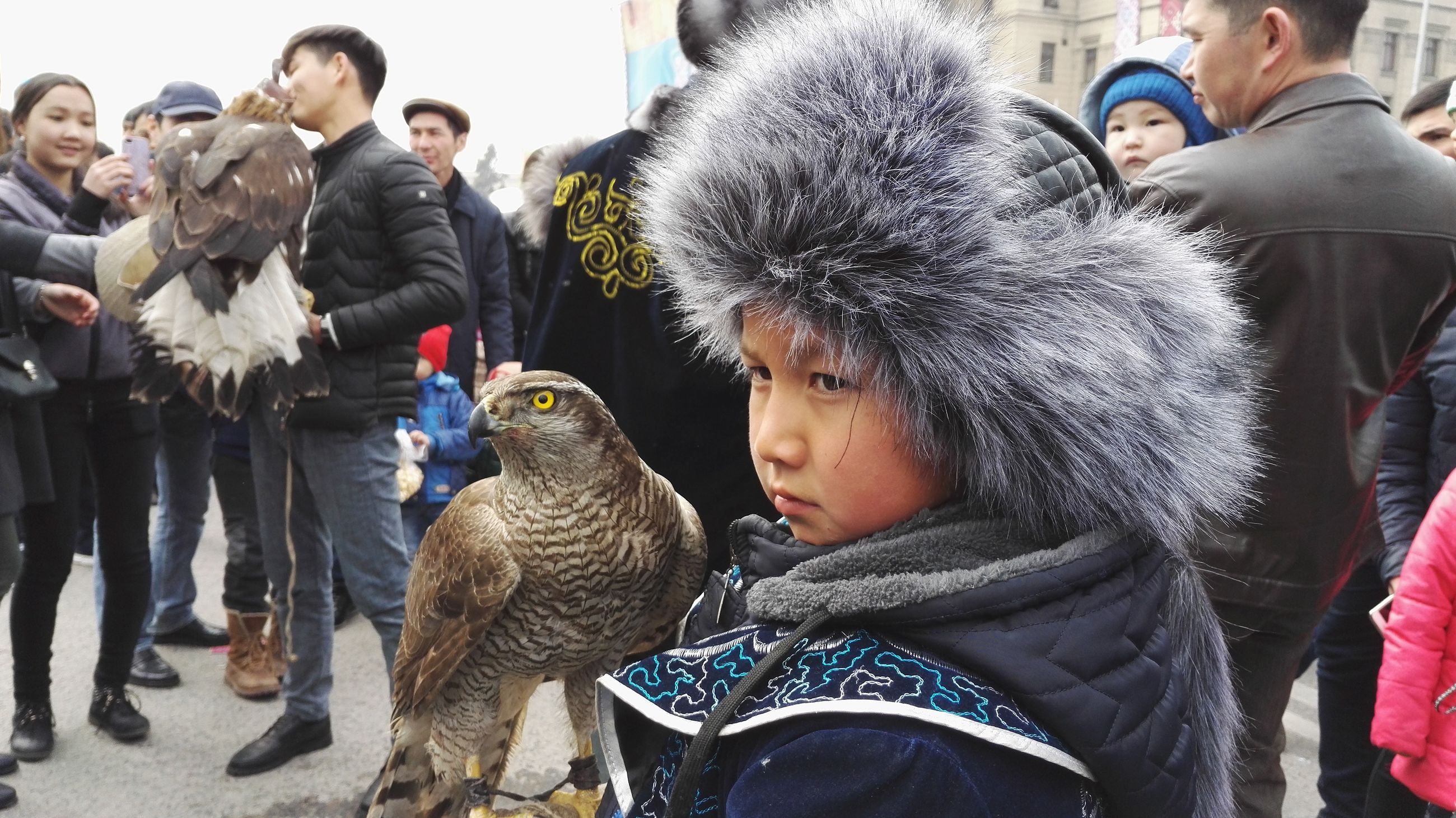 real people, togetherness, outdoors, day, warm clothing, childhood, boys, large group of people, bird, men, close-up, people
