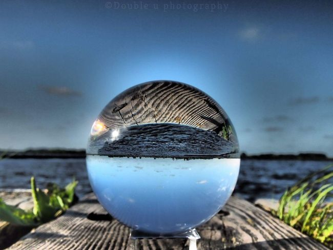 Reflection Water Crystal Ball No People Nature Close-up Sky Outdoors Photograph Focus On Foreground Selective Focus Nature Beauty In Nature Olympus Camera Reflection Cloud - Sky