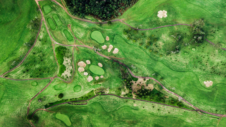 Drone top view of green grass golf field Golf Golf Course DJI Mavic Pro DJI X Eyeem High Angle View Above Directly Above Top View Top Perspective Drone  Aerial View Aerial Shot Outdoors Leisure Activity No People Sport Bunker Sand Trap