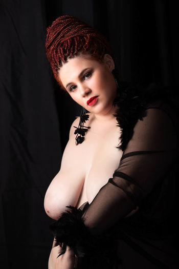 Muse II #beautiful #CURVY #redhair #womanportrait Black Background Close-up Day Indoors  One Person People Studio Shot Young Adult
