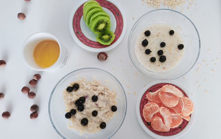 Healthy breakfast Breakfast Breakfast Time Breakfast ♥ Fruits Healthy Eating Healthy Lifestyle Porridge Table View From Above High Angle View Food And Drink Indoors  Sweet Food No People Food Dessert