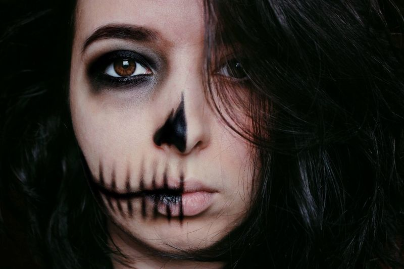Skull Halloween Portrait One Person Headshot Looking At Camera Young Adult Close-up Young Women Human Face Human Body Part Black Hair Beautiful Woman Front View Women Indoors  Make-up Black Background Hair Real People Lifestyles Adult