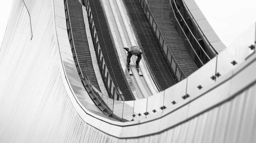 Architecture Black And White Built Structure Jumping Ski Jumping Ski Jumping Hill Sports Wintersports