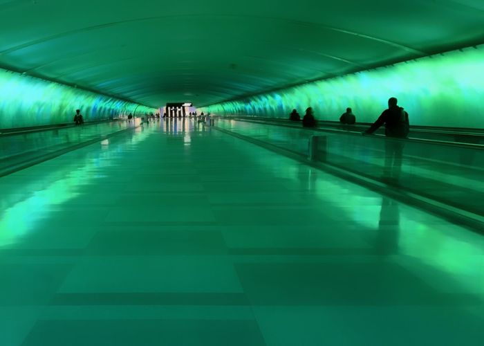 DTW underground tunnel between terminals putting on a light show. Illuminated Modern Moving Walkway  Architecture Light Show The Way Forward Lifestyles Real People Green Color Built Structure Tunnel Moving Walkway  People Mover Lighting Equipment Transportation Airport Indoors  Ceiling Indoors  Architecture People
