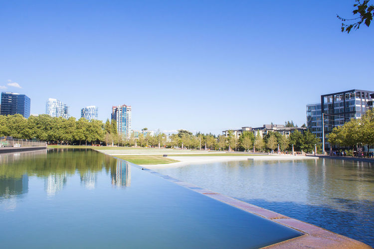 Water Sky City Tree Plant Reflection Nature Building Clear Sky Waterfront Day Lake Outdoors Building Exterior No People Modern Cityscape Blue