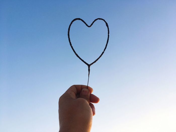 Close-up of person holding heart shape against clear sky