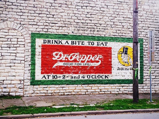 Dr Pepper Dr Pepper Texas Dublin Bottling Co Dublin Dr Pepper Advertisement Advertising Signs Brick Wall Brick Building Building Exterior Architecture Roadside Vintage Roadside America Brick Wall IPhoneography IPhone Text Texas Street Photography Streetphotography Roadside Shots Street Art The City Light Minimalist Architecture Art Is Everywhere