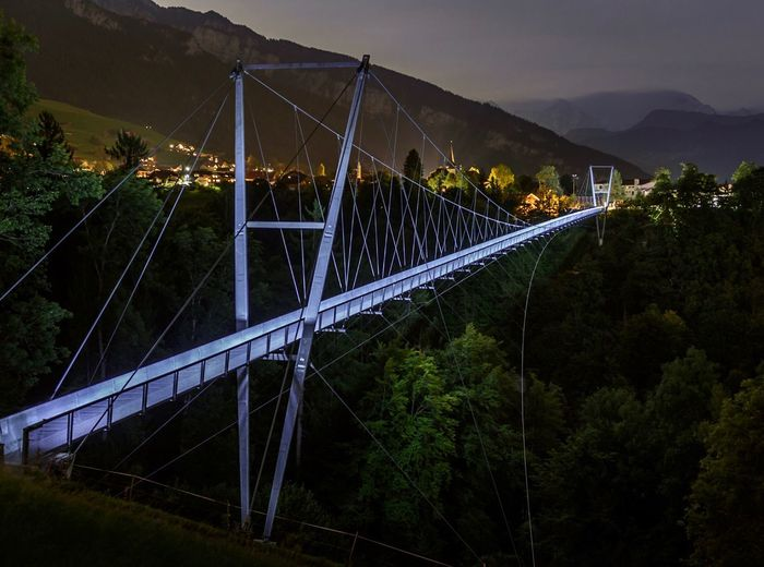 Connection Bridge - Man Made Structure Mountain Engineering Transportation Architecture Suspension Bridge Outdoors No People Built Structure Mountain Range Sky Night Nature Cable Beauty In Nature City