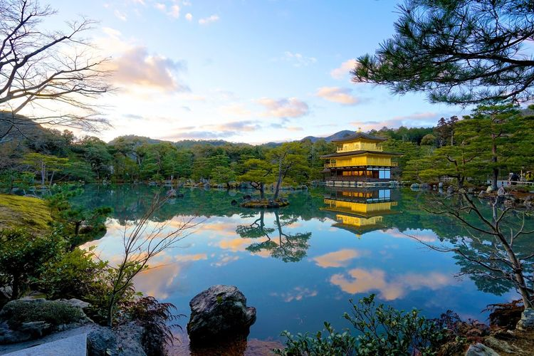 Kinkaku-ji Temple By SONY A7R Japan Japan Building Kinkaku-ji Temple Architecture Beauty In Nature Buddhist Temple Building Exterior Built Structure Cloud - Sky Day Kyoto Lake Mountain Nature No People Outdoors Reflection Scenics Sky Tranquil Scene Tranquility Tree Water