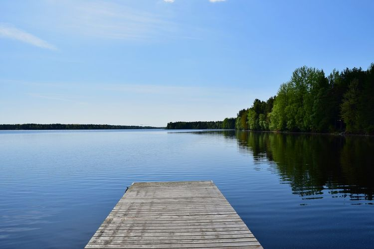 Jetty Tranquility Lake View Lake Nydala Umeå Sweden Calm Water Reflection Ripples Photography Photooftheday Tranquil Scene Water Sky Outdoors No People Beauty In Nature Nature