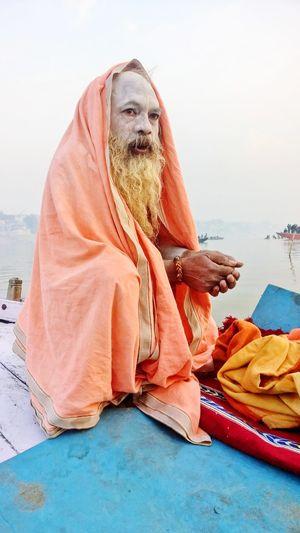 Hinduism Hindu Baba Ji Sadu Holy Man Sadu Textile Hijab Sitting Traditional Clothing Cultures Outdoors Day Close-up Sari Adults Only People Adult