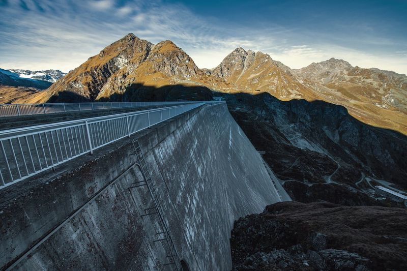 Mountain Mountain Range Dam Hydroelectric Power Fuel And Power Generation Renewable Energy Environmental Conservation Snowcapped Mountain Mountain Peak Outdoors Grand Dixence