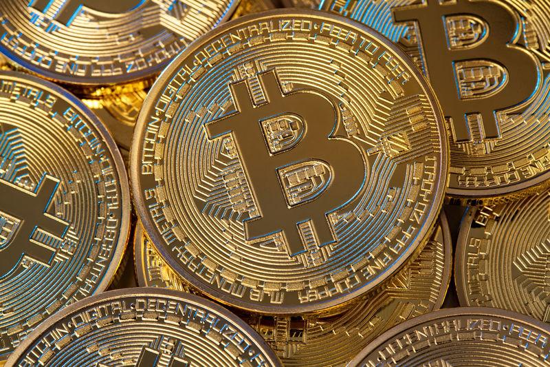 Full frame shot of bitcoins