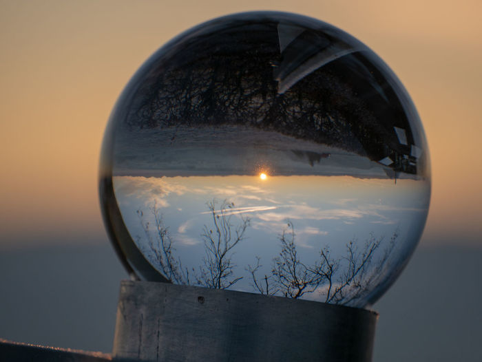 Sky Sunset Reflection Nature Glass - Material Transparent No People Water Scenics - Nature Close-up Sphere Beauty In Nature Outdoors Focus On Foreground Tree Plant Geometric Shape Circle