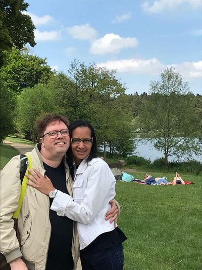 My wife and I at Aydat lake, Auvergne Rhône Alpes. Young Women Togetherness Smiling Portrait Men Eyeglasses  Women Happiness Tree Arm Around Hugging Cheek To Cheek Arm In Arm Affectionate Family Bonds Romantic Activity Couple