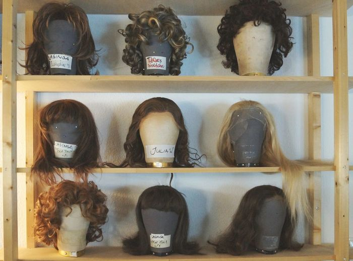Bad hair day? Oder eine haarige Angelegenheit Hair Hairstyle Wigs Blonde Brown Hair Long Hair Need A Haircut Theater Stage Getting Ready Actors Wardrobe Performing Makeup White Wall Wooden Shelf EyeEm Best Shots EyeEm Best Edits Name Tags Lookingup Be Someone Else Showcase April Telling Stories Differently White Background Showing Imperfection
