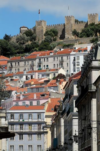 View of saint george castle, on a hill in lisbon, portugal