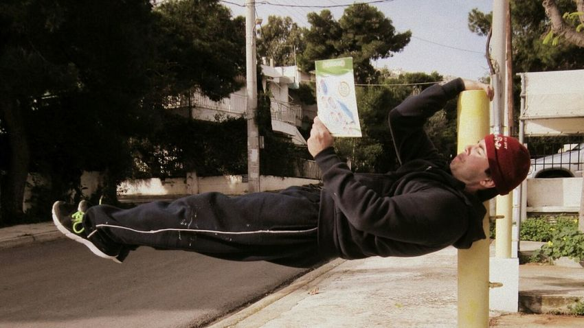 Athlete Books Hanging Outdoors Power Balance Reading Streetworkout Strenght