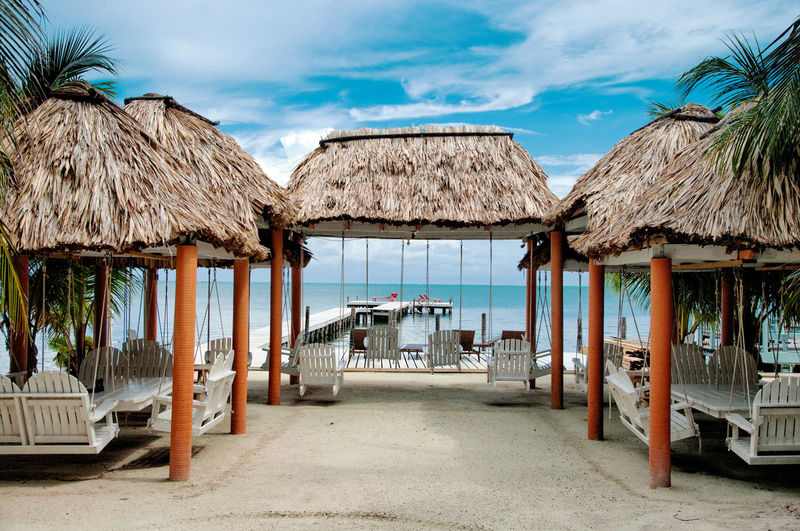 Belize  San Pedro Absence Architecture Beach Building Building Exterior Built Structure Caye Caulker Cloud - Sky Day Gazebo La Isla Bonita Land Nature No People Outdoors Palm Tree Roof Sea Sky Thatched Roof Travel Destinations Tropical Climate Water This Is Latin America