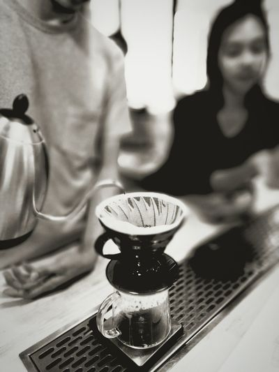 A pour over , coffee V60 Hario Malaysia Specialtycoffee Drink Food And Drink Indoors  Close-up People Adults Only Adult Day