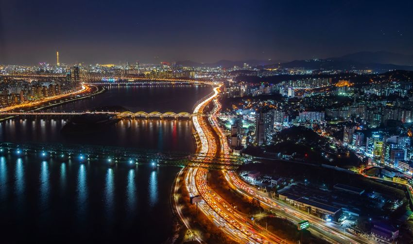night view of han river in seoul south Korea River Han Korea Korean Seoul Light Night South Korea Commercial Business Travel Landmark Landscape Lotte Winter Reflection Capital Outdoor City Cityscape Illuminated Urban Skyline Skyscraper Road Light Trail Panoramic Bridge - Man Made Structure Long Exposure Tail Light Office Building
