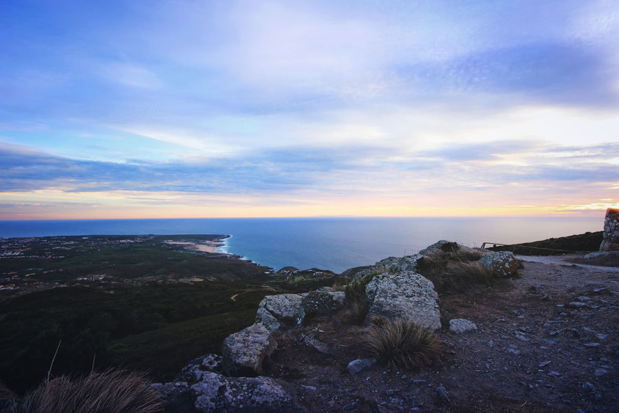 Beauty In Nature Cloud - Sky Day End Of The Day Horizon Over Water Landscape Low Light Mountains Natura Nature No People Ocean Outdoors Portugal Rock - Object Scenics Sea Sky Sunset Tranquility Travel Water