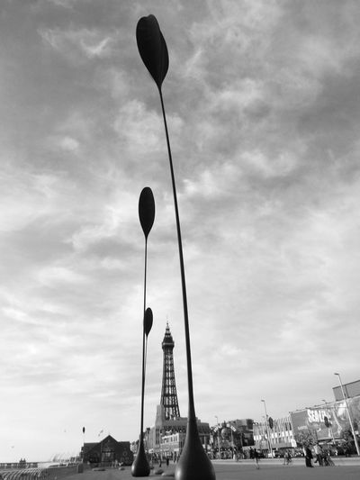 Blackpool Tower Black And White Photography Black And White Sculptures Dune Grass Sculpture Tourists Tourism Tourist Attraction  Tourist Destination