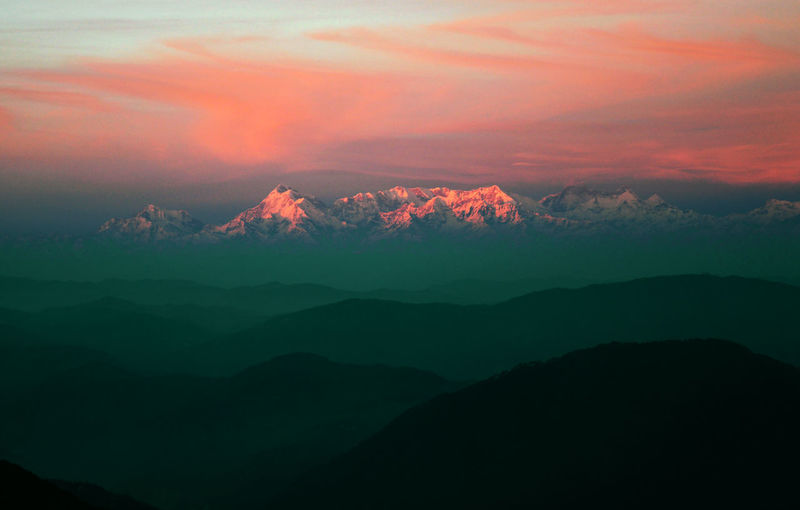 The Great Himalayas... Mountain Scenics - Nature Beauty In Nature Tranquil Scene Tranquility Sky Cloud - Sky Idyllic Sunset Mountain Range No People Non-urban Scene Environment Landscape Nature Majestic Remote Outdoors Orange Color Mountain Peak