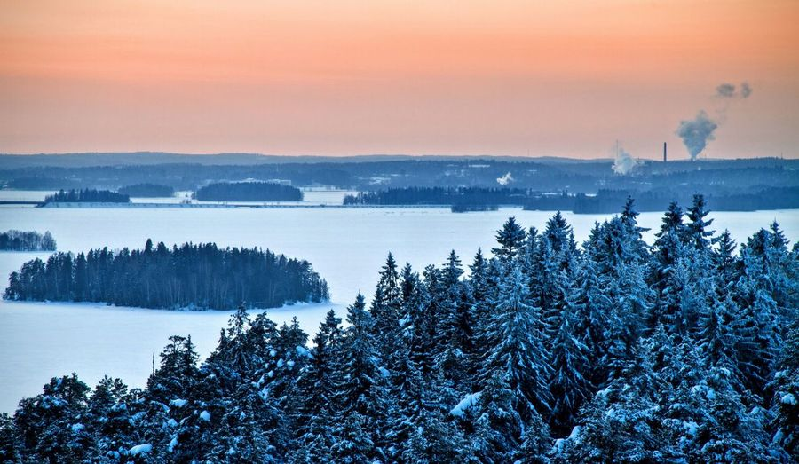 Finnish scenary Suomi Finland Scenary Landscape Landscape Photography Forest Trees Lake Winter Frozen Frozen Lake Smoke Sunset Landscapes With WhiteWall The Great Outdoors - 2017 EyeEm Awards