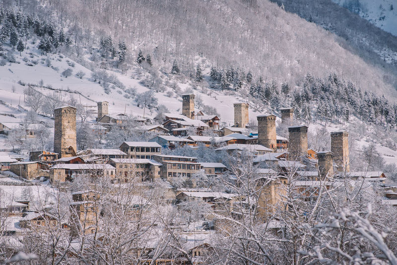 Winter Snow Cold Temperature Nature No People Frozen Architecture Built Structure Environment Mountain Outdoors Building Exterior Plant Tree Landscape Beauty In Nature Tranquility Building Old Town Snow ❄ Winter Wintertime Winter Wonderland Mestia Castle