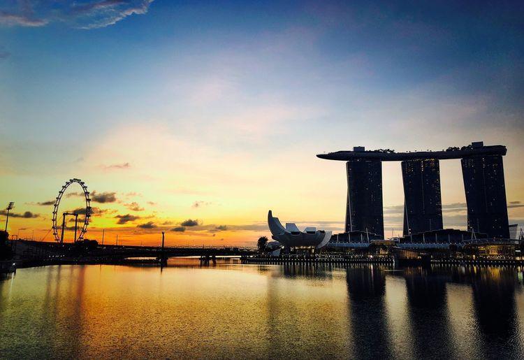 Singapore Sky Water Sunset Architecture Cloud - Sky Nature Built Structure Sea No People