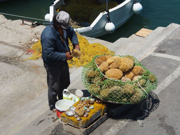 High Angle View Of Fisherman