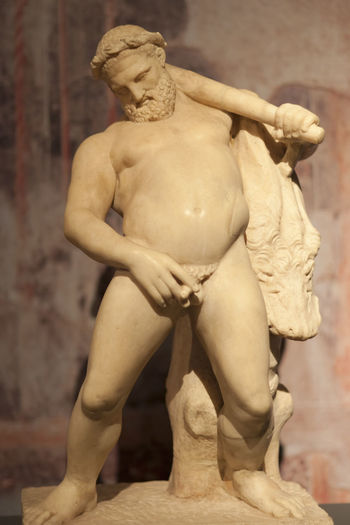 Marble statue of drunken Hercules with lion skin - Excavated at Herculaneum near Pompejii. Both cities near Naples in Italy were destroyed by the eruption of Vesuvius in 79AD Athlete Beard Drunken Full Length Herculaneum Hercules Human Representation Male Male Likeness Man Marble Muscular Build Mythology Naked_art Nakedmen No People Nude_model Penisart Phallus  Pompeii  Roman Sculpture Shirtless Statue Statue
