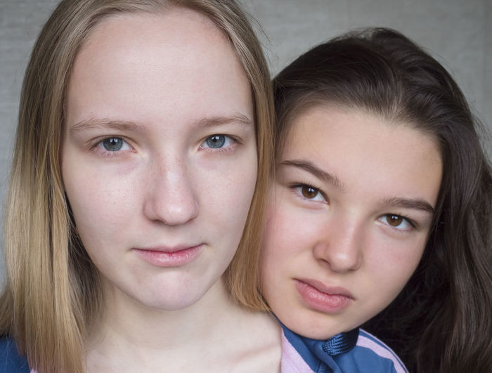 Portrait Looking At Camera Two People Headshot Togetherness Women Females Front View Child Bonding Girls Emotion Family Indoors  Real People Love People Hair Smiling Teenager Positive Emotion Hairstyle Sister Pre-adolescent Child