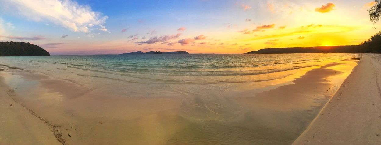 Sunset on 4K beach, Koh Rong... Sea Beach Horizon Over Water Scenics Sky Sand Beauty In Nature Tranquil Scene Water Nature Sunset Tranquility Shore Idyllic No People Cloud - Sky Outdoors Wave