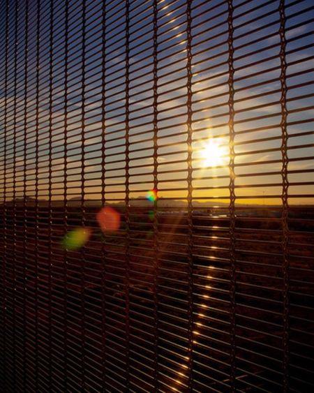Lensflare Sunset Sunshine Throughthefence