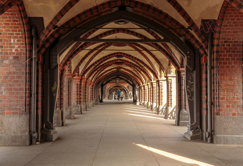 Oberbaumbrücke Arch Architecture Built Structure Corridor Day Diminishing Perspective Empty Indoors  Light And Shadow No People The Way Forward