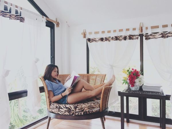 Do not disturb🤓 One Person One Woman Only Relaxation Barefoot Adults Only Curtain Young Women Indoors  Lifestyles One Young Woman Only Leisure Activity Young Adult Armchair Day Women Home Interior Beautiful Woman Flower