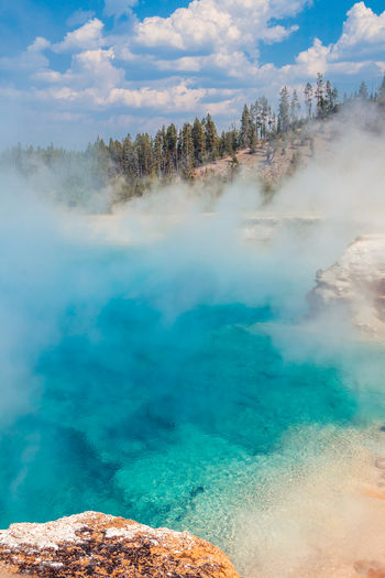Scenic view of excelsior geyser