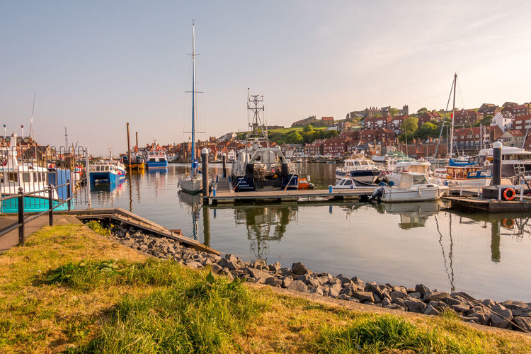 Whitby Whitby Harbour Whitby View Whitby North Yorkshire North Yorkshire Yorkshire Sunny Day Blue Sky Seaside Seaside Town Water Nautical Vessel Transportation Sky Harbor Sailboat No People Architecture Mast Day Reflection Sea Outdoors Marina Yacht