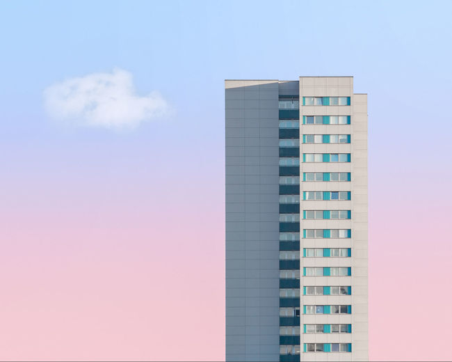 Gradient Pastel Power Apartment Architecture Blue Building Building Exterior Built Structure City Cloud - Sky Day Glass - Material Low Angle View Minimalism Modern Nature No People Office Office Building Exterior Outdoors Pink Color Sky Skyscraper Tall - High The Architect - 2018 EyeEm Awards
