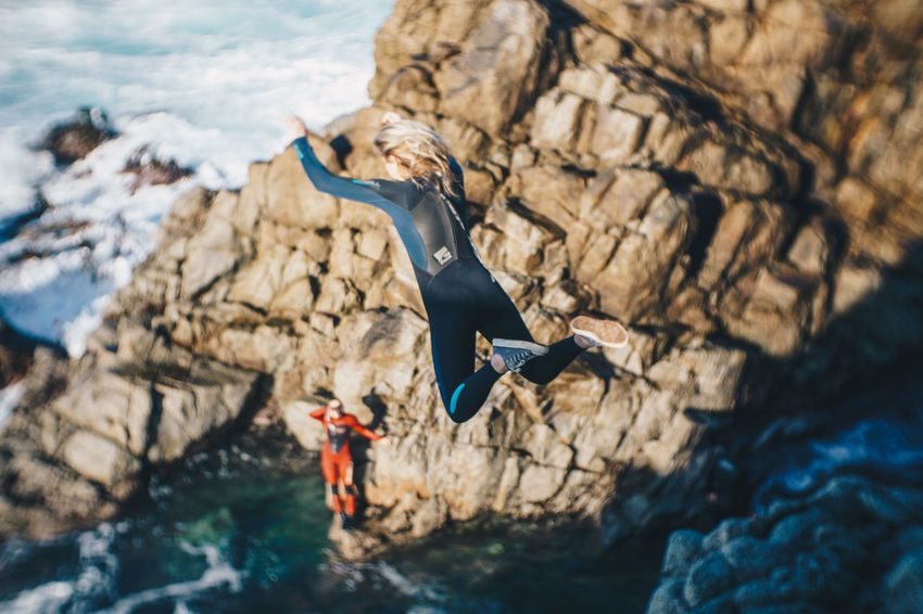 Adventure Big Sur California Cliff Jump Cliff Jumping Nature Ocean Outdoors Rock Climbing Water Wetsi Wetsuit Young Adult Young Women