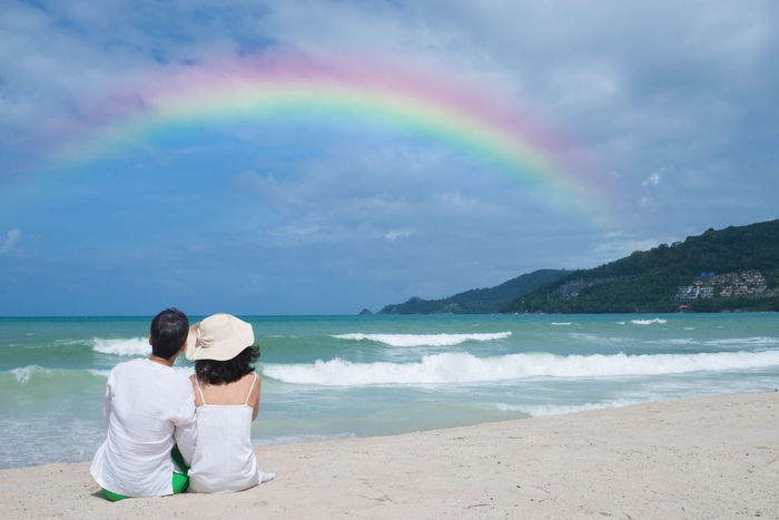 Rainbow lover. Bride And Groom Cloud Sky Lifestyle Love ♥ Rainbow Sky Sea Sun Beach Togetherness Two People Water