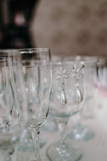 Close-up of empty glass on table