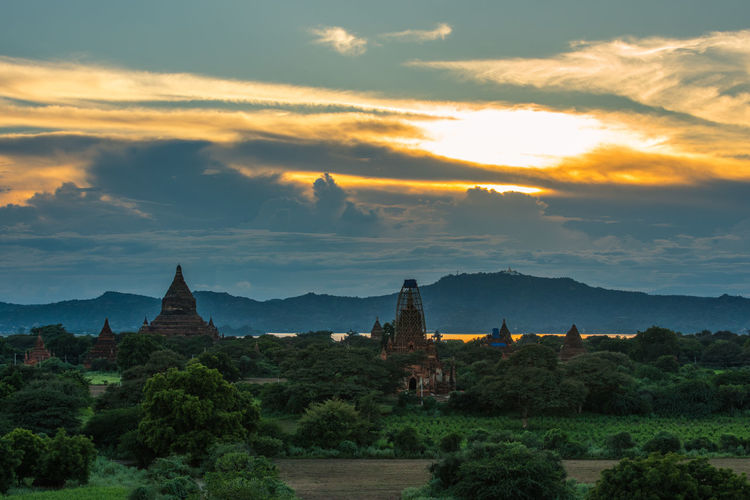 View of temples at sunset