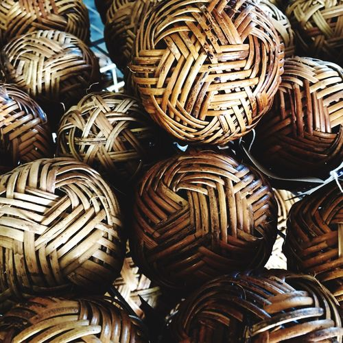 Full frame shot of woven wicker balls