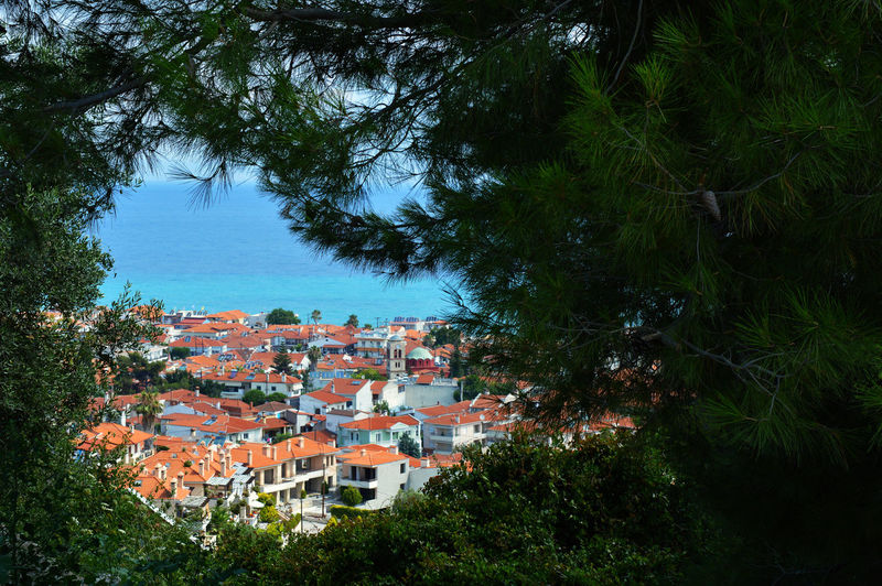 Greece Village Greek Village Building Exterior Plant Village By The Sea Outdoors High Angle View Day TOWNSCAPE Architecture Tree Nature Seascape Sea And Nature Town Building