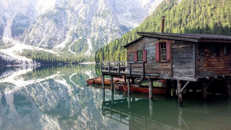The magic lake of Braies Water Architecture Built Structure Lake Mountain Nature Reflection Tree Südtiroler Alto Adige Landscape Südtirol Scenics Blue Travel Destinations No People Dolomites Italy Braies Lake Braieslake Braies The Week On EyeEm Shades Of Winter